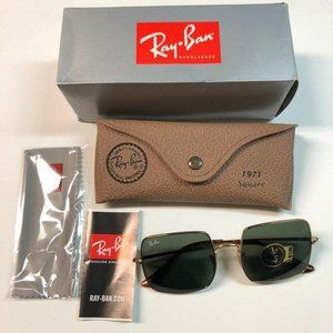 Ray-Ban Gold Green Square with Lenses Sunglasses